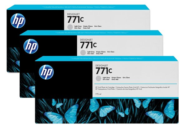 HP 771C 3-pack 775-ml Light Gray Designjet Ink Cartridges