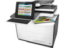 HP PageWide Enterprise Color Flow MFP 586z, PageWide Technology, automatic duplexing, left view, key