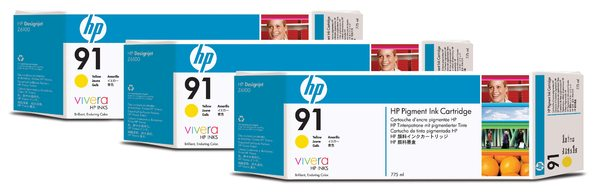 HP 91 3-pack 775-ml Yellow Ink Cartridges