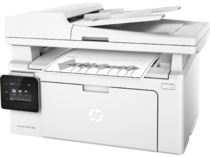 HP LaserJet Pro MFP M130fw, Left facing, with output