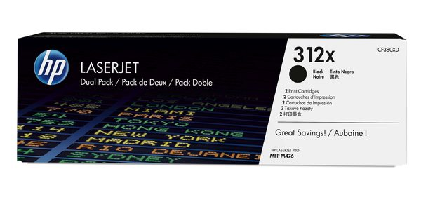 HP 312X 2-pack High Yield Black Original LaserJet Toner Cartridges