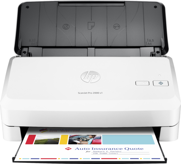HP ScanJet Pro 2000 s1 sheet-feed Scanner, Center, Front, with output