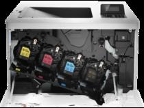 HP Color LaserJet Enterprise M553dn, color printer, toner in printer detail
