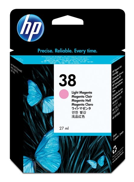 HP 38 Light Magenta Pigment Ink Cartridge