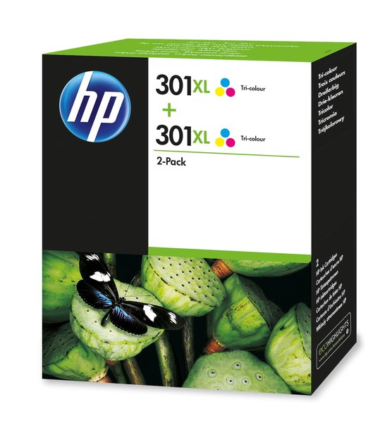 HP 301XL 2-pack High Yield Tri-color Original Ink Cartridges