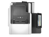 HP PageWide Enterprise Color MFP 586dn printer, PageWide Technology, automatic duplexing, aerial vie