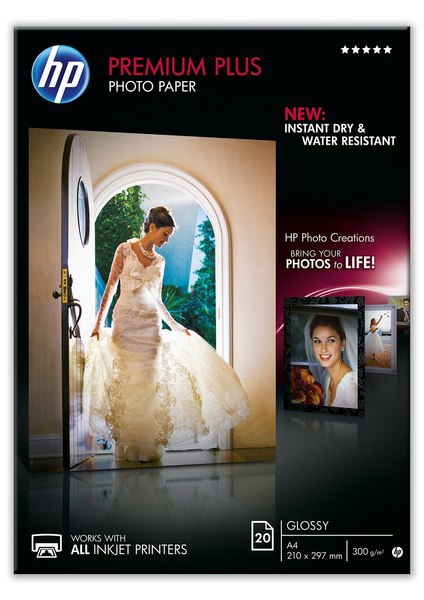 HP Premium Plus Glossy Photo Paper-20 sht/A4/210 x 297 mm