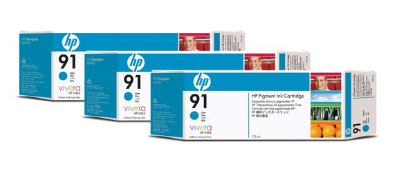 HP 91 3-pack 775-ml Cyan Ink Cartridges