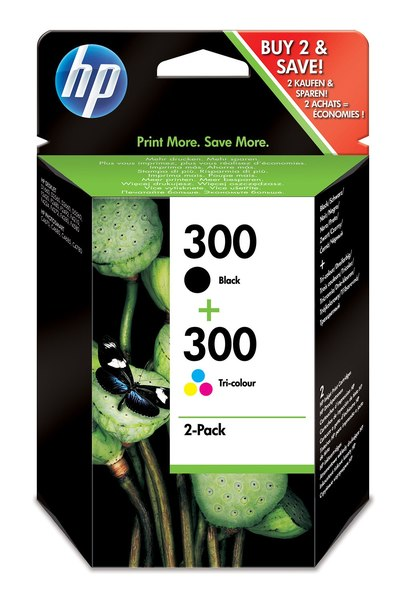 HP 300 Combo-pack Black/Tri-color Ink Cartridges