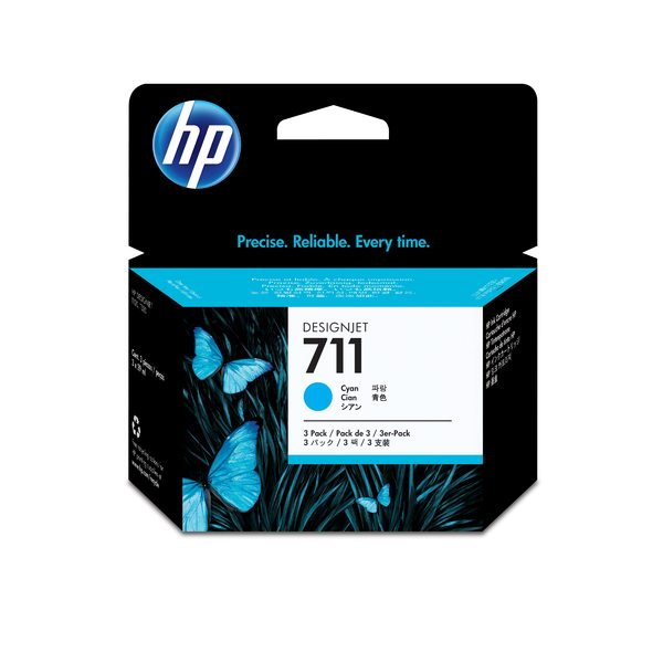 HP 711 3-pack 29-ml Cyan Ink Cartridges