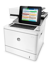 HP Color LaserJet Enterprise Flow MFP M577z, left facing, keyboard out