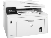 HP LaserJet Pro MFP M227fdw, Right facing, with output