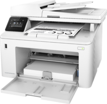 HP LaserJet Pro MFP M227fdw, Left facing, Input door open, with output