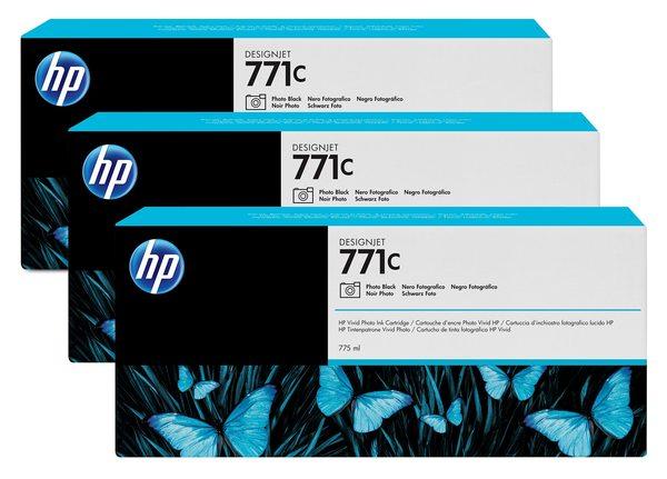 HP 771C 3-pack 775-ml Photo Black Designjet Ink Cartridges