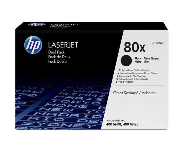 HP 80X Black Dual Pack LaserJet Toner Cartridges
