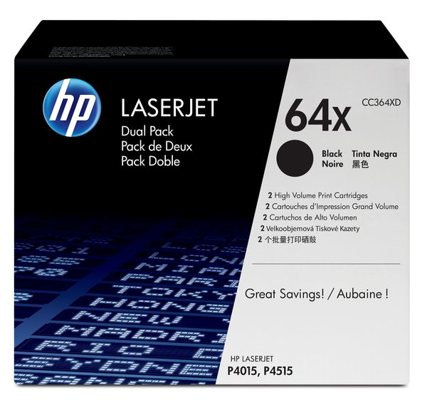 HP LaserJet CC364X Dual Pack Black Print Cartridges