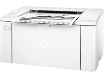 HP LaserJet Pro M102w, Left facing, with output