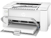 HP LaserJet Pro M102w, Left facing, Open Dust Cover, with output