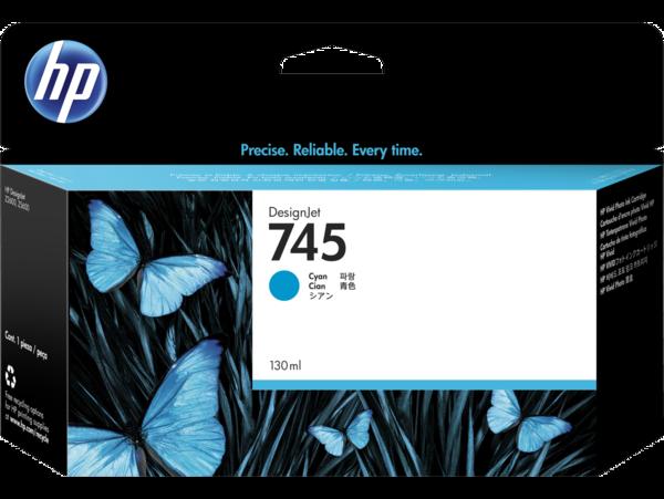 HP 745 130-ml DesignJet Cyan Ink Cartridge