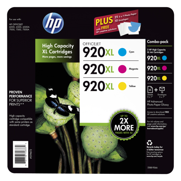 HP 920XL 3-pack High Yield Cyan/Magenta/Yellow Original Ink Cartridges