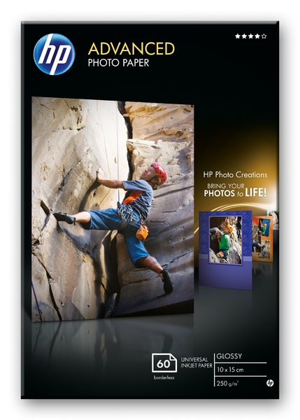 HP Advanced Glossy Photo Paper-60 sht/10 x 15 cm borderless