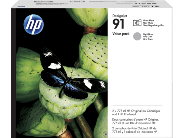 HP 91 DesignJet Photo Black and Light Gray Value Pack