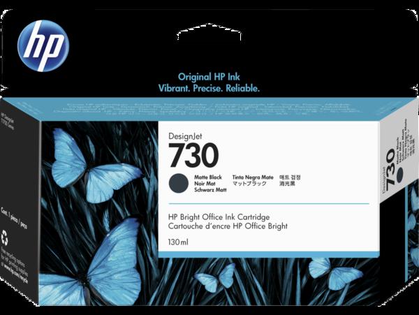 HP 730 130-ml DesignJet Matte Black Ink Cartridge, WW