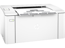 HP LaserJet Pro M102a, Right facing, with output