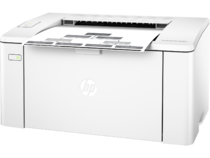 HP LaserJet Pro M102a, Left facing, with output