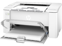 HP LaserJet Pro M102a, Left facing, Open Dust Cover, with output