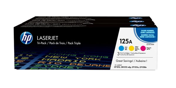 HP 125A 3-pack Cyan/Magenta/Yellow Original LaserJet Toner Cartridges