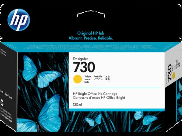 HP 730 130-ml DesignJet Yellow Ink Cartridge, WW