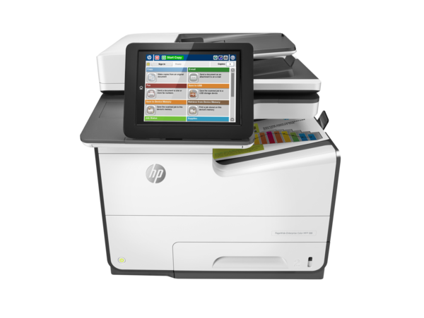 HP PageWide Enterprise Color MFP 586f printer, PageWide Technology, automatic duplexing, center view