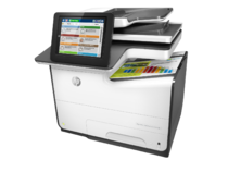 HP PageWide Enterprise Color MFP 586f printer, PageWide Technology, automatic duplexing, left view