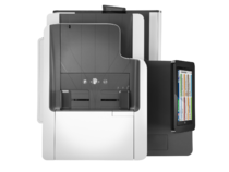 HP PageWide Enterprise Color MFP 586f printer, PageWide Technology, automatic duplexing, aerial view