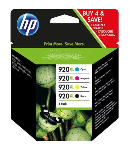 HP 920XL Combo-pack Black/Cyan/Magenta/Yellow Officejet Ink Cartridges