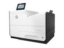 HP PageWide Enterprise Color 556dn printer, PageWide Technology, automatic duplexing, hero low angle