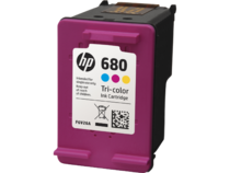 HP 680 Tri-Color Ink Cartridge, Left Facing.