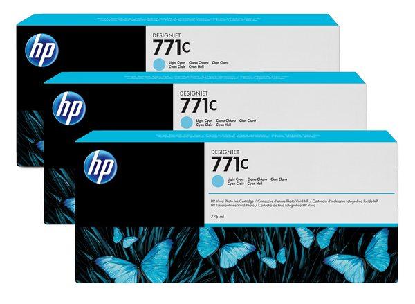 HP 771C 3-pack 775-ml Light Cyan Designjet Ink Cartridges