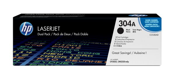HP 304A Black Dual Pack LaserJet Toner Cartridges