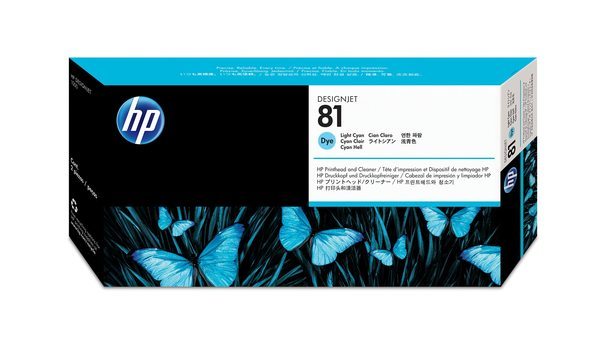 HP 81 Light Cyan Dye Printhead and Printhead Cleaner
