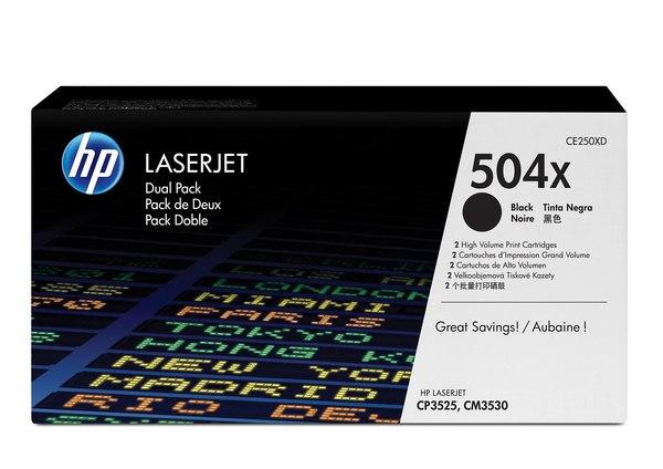 HP 504X Black Dual Pack LaserJet Toner Cartridges