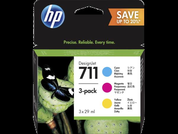 HP 711 DesignJet Cyan/Magenta/Yellow Ink Cartridge 3-pack