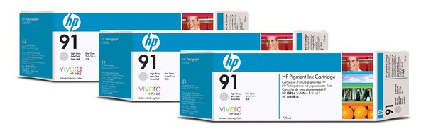 HP 91 3-pack 775-ml Light Gray Ink Cartridges