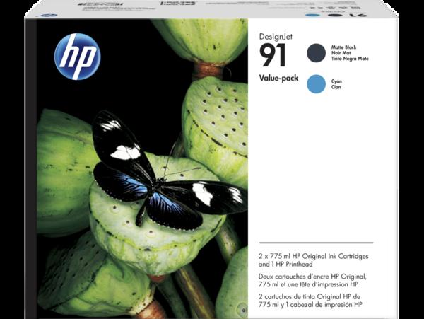 HP 91 DesignJet Matte Black and Cyan Value Pack