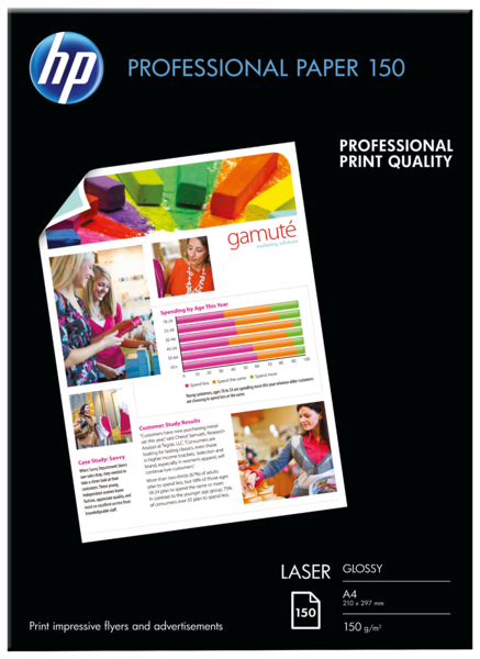 HP Professional Laser Paper 150 gsm-150 sht/A4/210 x 297 mm