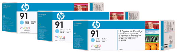 HP 91 3-pack 775-ml Light Cyan Pigment Ink Cartridges