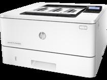 HP LaserJet Pro M402dne, Left facing, with output