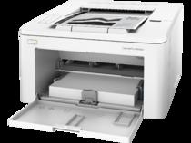 HP LaserJet Pro M203dw, Left facing, Input door open, with output
