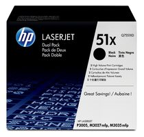 HP LaserJet Q7551X Dual Pack Black Print Cartridges